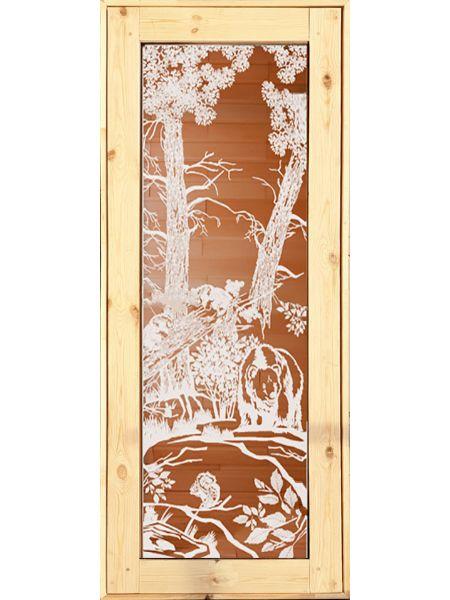 Банная дверь ПО-14 «Мишки» Бронза (Осина)