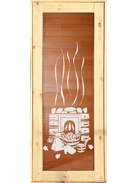 Банная дверь ПО-14 «Печка» Бронза (Осина)