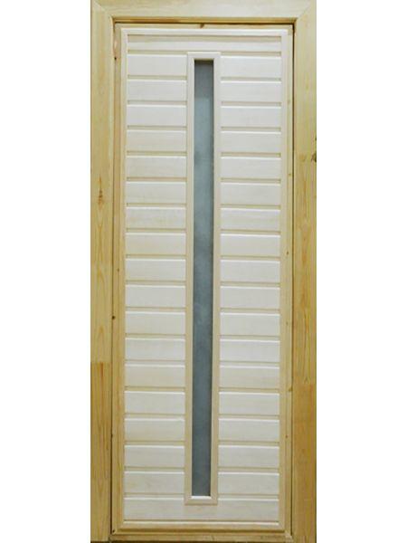 Банная дверь ПО-3 Сатин (Липа)