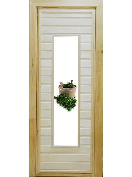 Банная дверь ПО-4 Фотопечать №3 (Осина)
