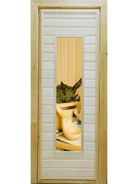 Банная дверь ПО-4 Фотопечать №4 (Осина)