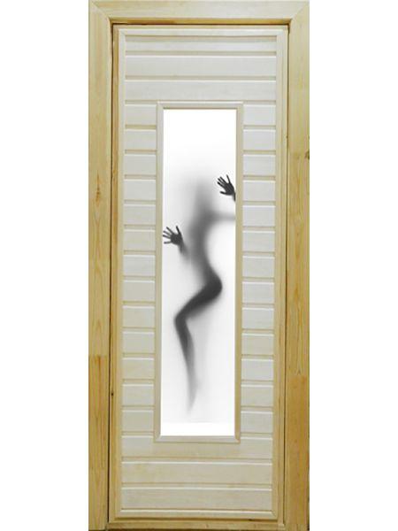 Банная дверь ПО-4 Фотопечать №5 (Осина)