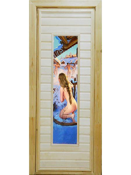 Банная дверь ПО-4 Фотопечать №6 (Осина)