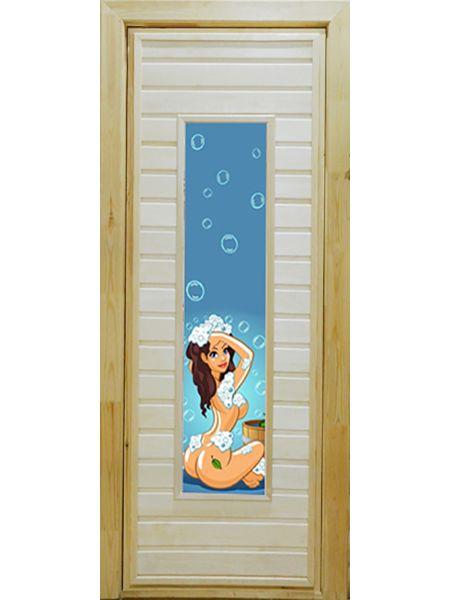 Банная дверь ПО-4 Фотопечать №7 (Осина)