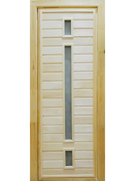 Банная дверь ПО-6 Сатин (Липа)