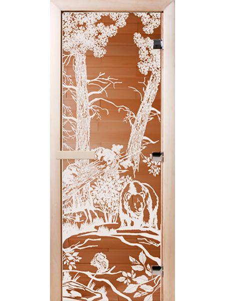 Банная дверь СД Бронза «МИШКИ»