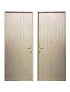 Входная деревянная дверь «ЩИТОВАЯ ЭКОНОМ - Вагонка / Вагонка»