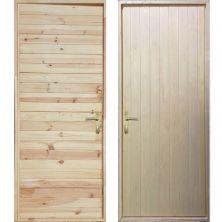 Входная деревянная дверь «ЩИТОВАЯ - Имитация бруса / Вагонка»