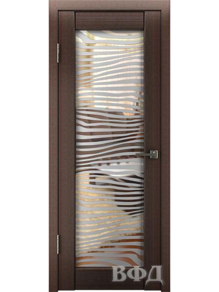 Межкомнатная дверь ВФД LINE 8 (Венге - Зеркало зебра)