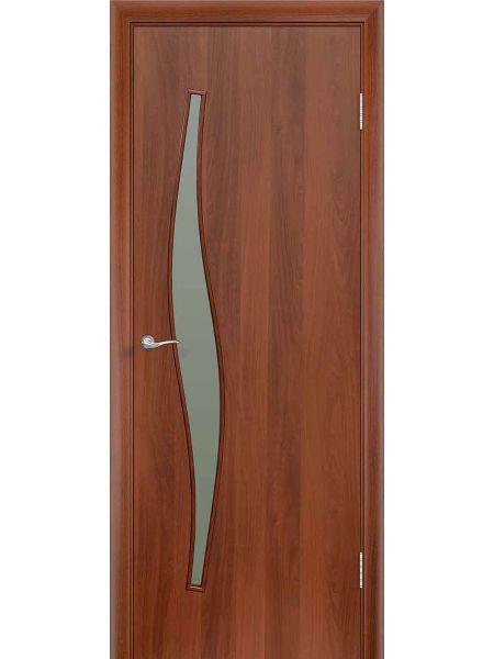 Межкомнатная дверь ПО Волна (Итальянский орех)