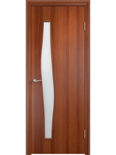 Межкомнатная дверь Верда С-10 Остекленная (Итальянский орех)