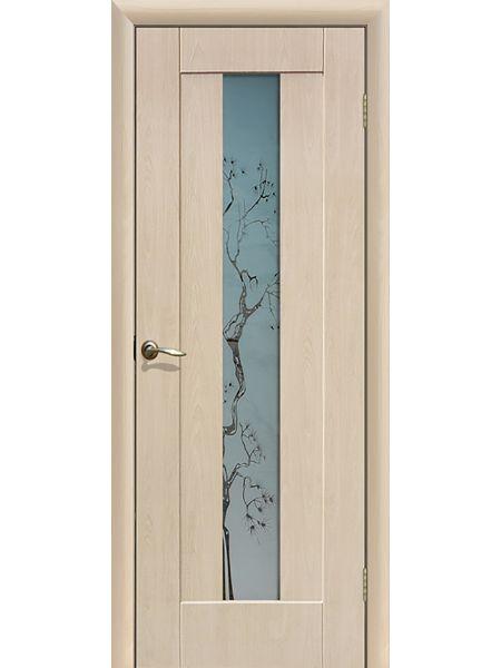 Межкомнатная дверь ПО Японская вишня (Беленый дуб)