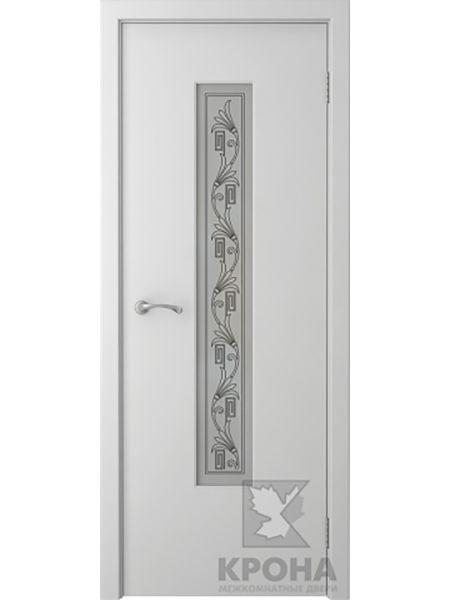 Межкомнатная дверь Крона ПО Карат (Белая эмаль)