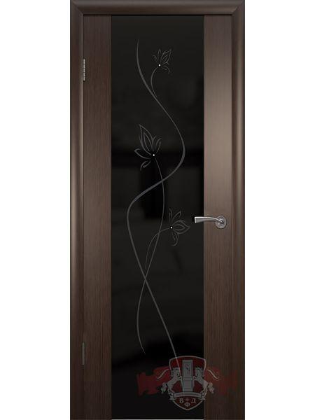 Межкомнатная дверь ВФД Рондо-Триплекс 8ДО4 (Венге/ Триплекс черный)