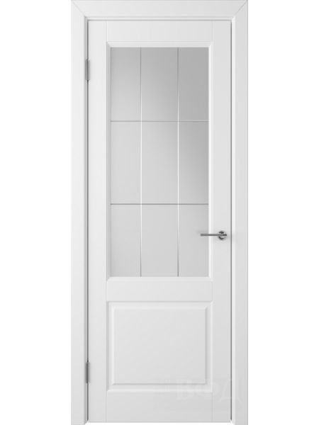 Межкомнатная дверь ВФД Доррен 58ДО0 (Белая эмаль - Белый сатинат с гравировкой)
