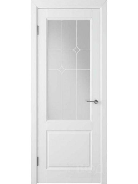 Межкомнатная дверь ВФД Доррен 58ДО0 (Белая эмаль - Белый сатинат с печатью)
