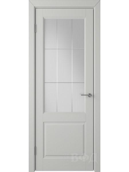 Межкомнатная дверь ВФД Доррен 58ДО02 (Светло-серая эмаль - Белый сатинат с гравировкой)