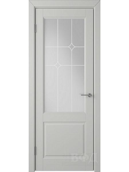 Межкомнатная дверь ВФД Доррен 58ДО02 (Светло-серая эмаль - Белый сатинат с печатью)