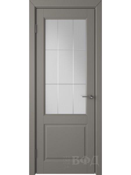 Межкомнатная дверь ВФД Доррен 58ДО03 (Темно-серая эмаль - Белый сатинат с гравировкой)
