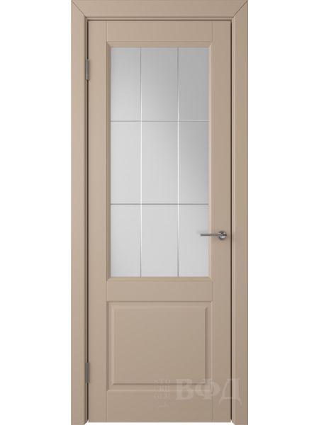 Межкомнатная дверь ВФД Доррен 58ДО04 (Латте эмаль - Белый сатинат с гравировкой)