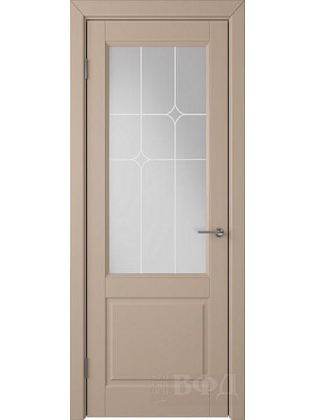 Межкомнатная дверь ВФД Доррен 58ДО04 (Латте эмаль - Белый сатинат с печатью)