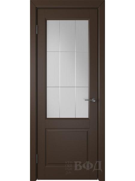 Межкомнатная дверь ВФД Доррен 58ДО05 (Шоколадная эмаль - Белый сатинат с гравировкой)