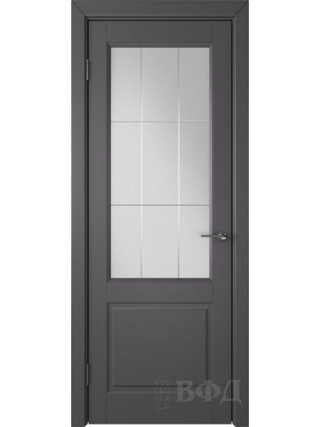 Межкомнатная дверь ВФД Доррен 58ДО06 (Графит эмаль - Белый сатинат с гравировкой)