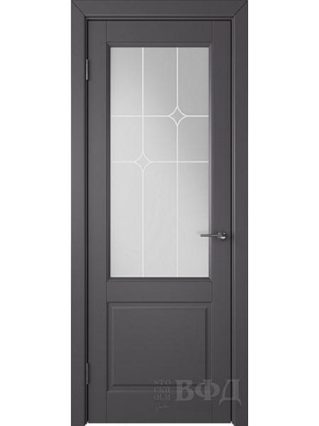 Межкомнатная дверь ВФД Доррен 58ДО06 (Графит эмаль - Белый сатинат с печатью)