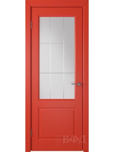 Межкомнатная дверь ВФД Доррен 58ДО07 (Красная эмаль - Белый сатинат с гравировкой)