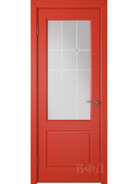 Межкомнатная дверь ВФД Доррен 58ДО07 (Красная эмаль - Белый сатинат с печатью)