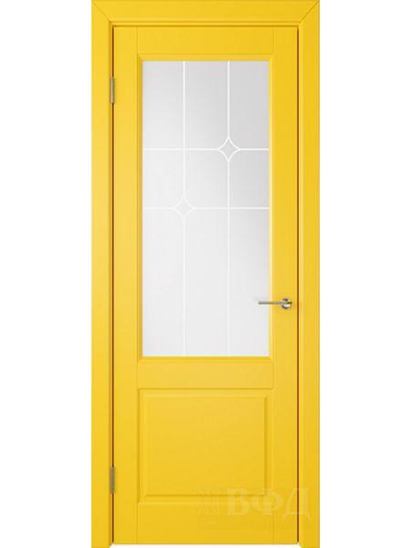 Межкомнатная дверь ВФД Доррен 58ДО08 (Желтая эмаль - Белый сатинат с печатью)