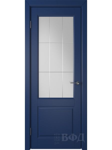 Межкомнатная дверь ВФД Доррен 58ДО09 (Синяя эмаль - Белый сатинат с гравировкой)