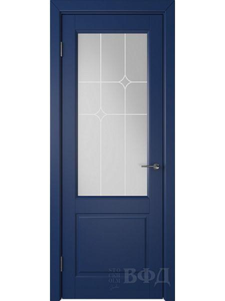 Межкомнатная дверь ВФД Доррен 58ДО09 (Синяя эмаль - Белый сатинат с печатью)