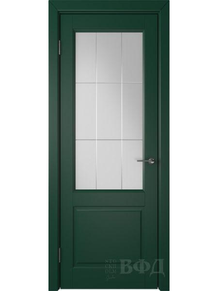 Межкомнатная дверь ВФД Доррен 58ДО10 (Зеленая эмаль - Белый сатинат с гравировкой)