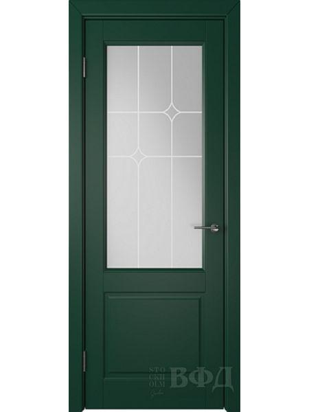 Межкомнатная дверь ВФД Доррен 58ДО10 (Зеленая эмаль - Белый сатинат с печатью)