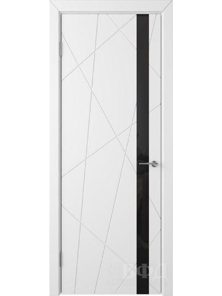 Межкомнатная дверь ВФД Флитта 26ДО0 (Белая эмаль - Стекло черное)