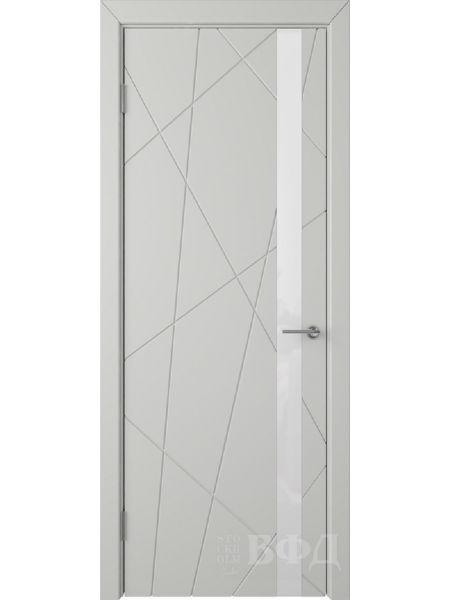 Межкомнатная дверь ВФД Флитта 26ДО02 (Светло-серая эмаль - Стекло белое)