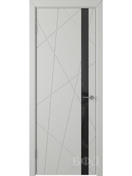 Межкомнатная дверь ВФД Флитта 26ДО02 (Светло-серая эмаль - Стекло черное)