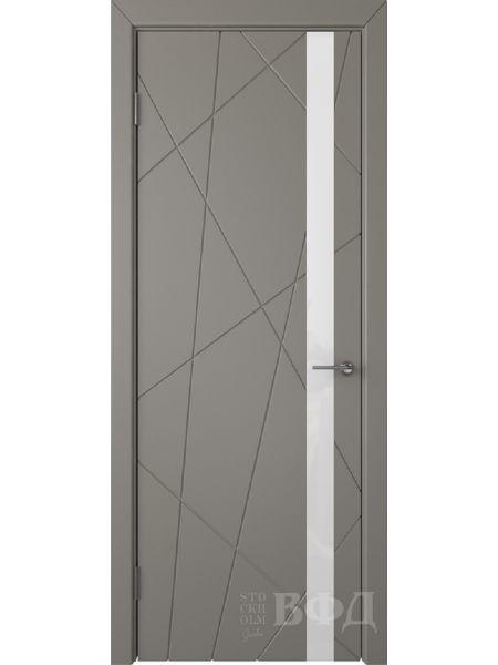 Межкомнатная дверь ВФД Флитта 26ДО03 (Темно-серая эмаль - Стекло белое)