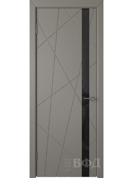 Межкомнатная дверь ВФД Флитта 26ДО03 (Темно-серая эмаль - Стекло черное)