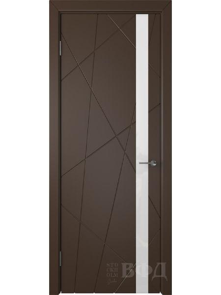 Межкомнатная дверь ВФД Флитта 26ДО05 (Шоколадная эмаль - Стекло белое)