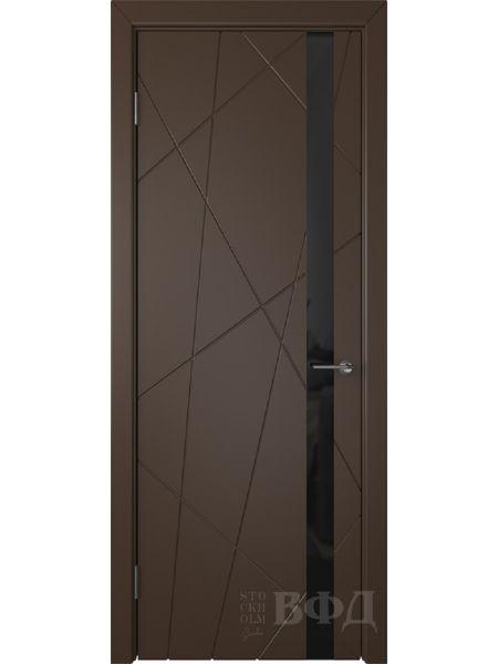 Межкомнатная дверь ВФД Флитта 26ДО05 (Шоколадная эмаль - Стекло черное)