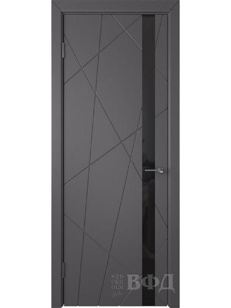 Межкомнатная дверь ВФД Флитта 26ДО06 (Графит эмаль - Стекло черное)
