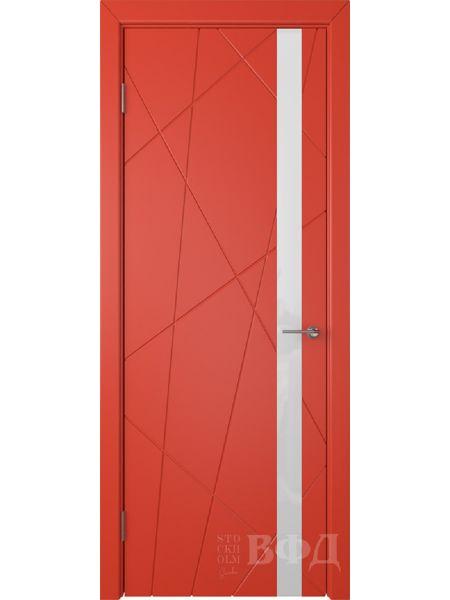 Межкомнатная дверь ВФД Флитта 26ДО07 (Красная эмаль - Стекло белое)
