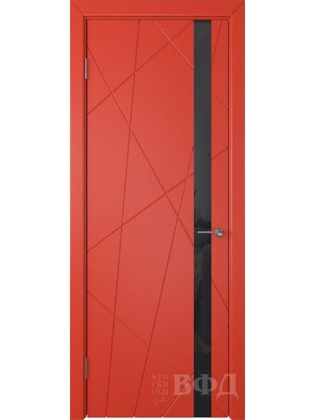 Межкомнатная дверь ВФД Флитта 26ДО07 (Красная эмаль - Стекло черное)