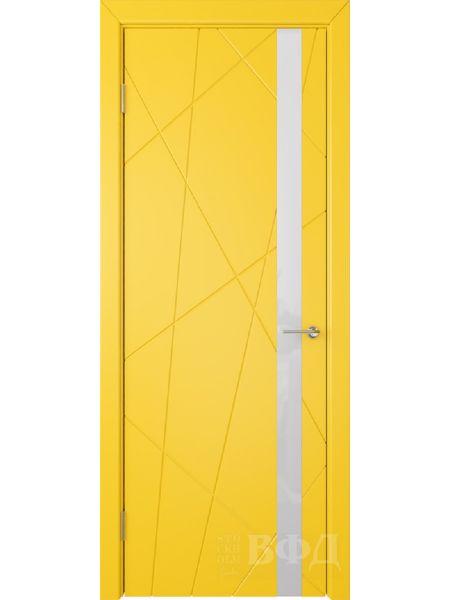 Межкомнатная дверь ВФД Флитта 26ДО08 (Желтая эмаль - Стекло белое)