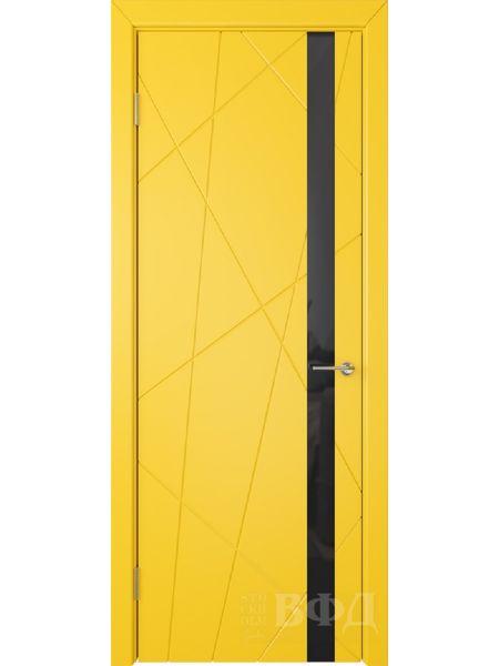 Межкомнатная дверь ВФД Флитта 26ДО08 (Желтая эмаль - Стекло черное)