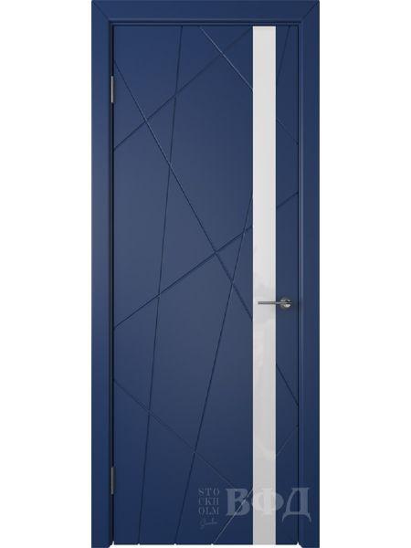 Межкомнатная дверь ВФД Флитта 26ДО09 (Синяя эмаль - Стекло белое)