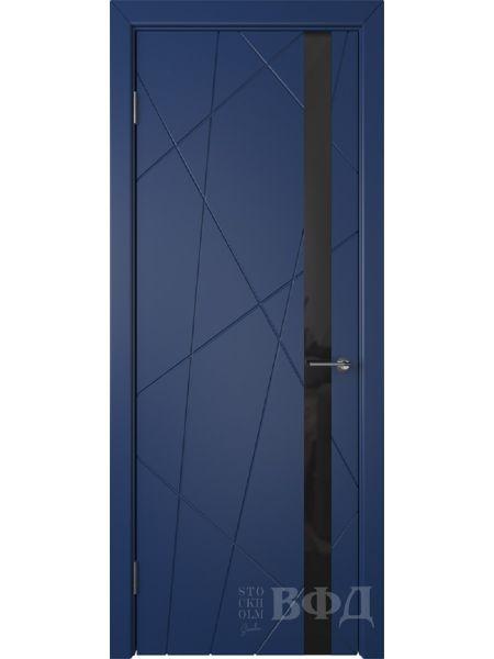 Межкомнатная дверь ВФД Флитта 26ДО09 (Синяя эмаль - Стекло черное)