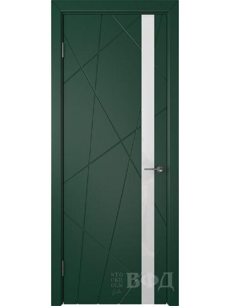 Межкомнатная дверь ВФД Флитта 26ДО10 (Зеленая эмаль - Стекло белое)